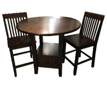 Dark Brown Double Leaf Round Table w/ 2 Chairs
