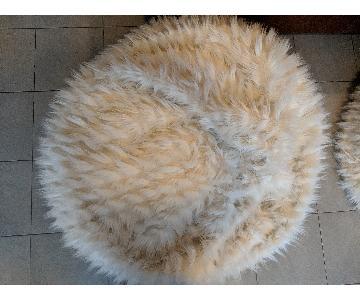 Pottery Barn Winter Fox Fur Pouf