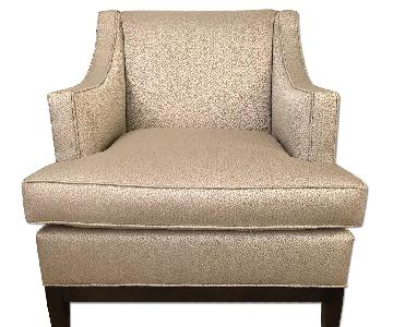 Duralee Cardiff Lounge Chair w/ Tight Back Wood Base
