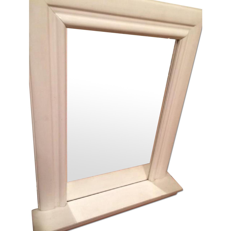 French Country Mirror w/ Shelf Framed w/ Molding Detail - AptDeco