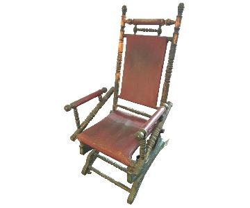 Victorian American Rocking Chair w/ Leather Upholstery