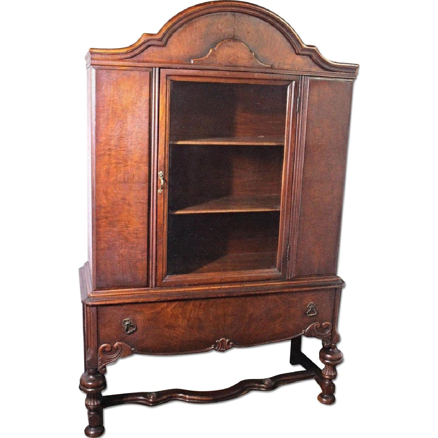 1800s 19th C Hyman Walnut China Cabinet