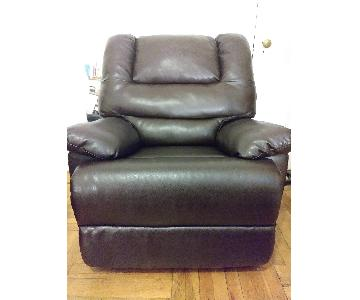 Apartment Size Recliner Chair in Faux Brown Leather