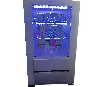 White Lacquer Cabinet w/ LED Changing Color Lights
