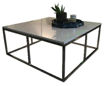 Room & Board White Marble Modern Coffee Table