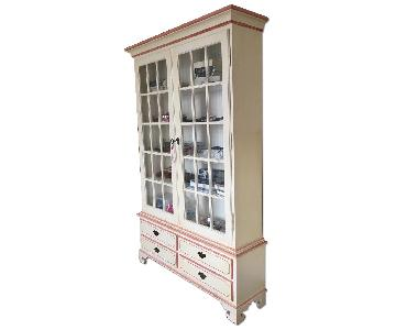 Country Swedish Bookcase w/ Glass Doors