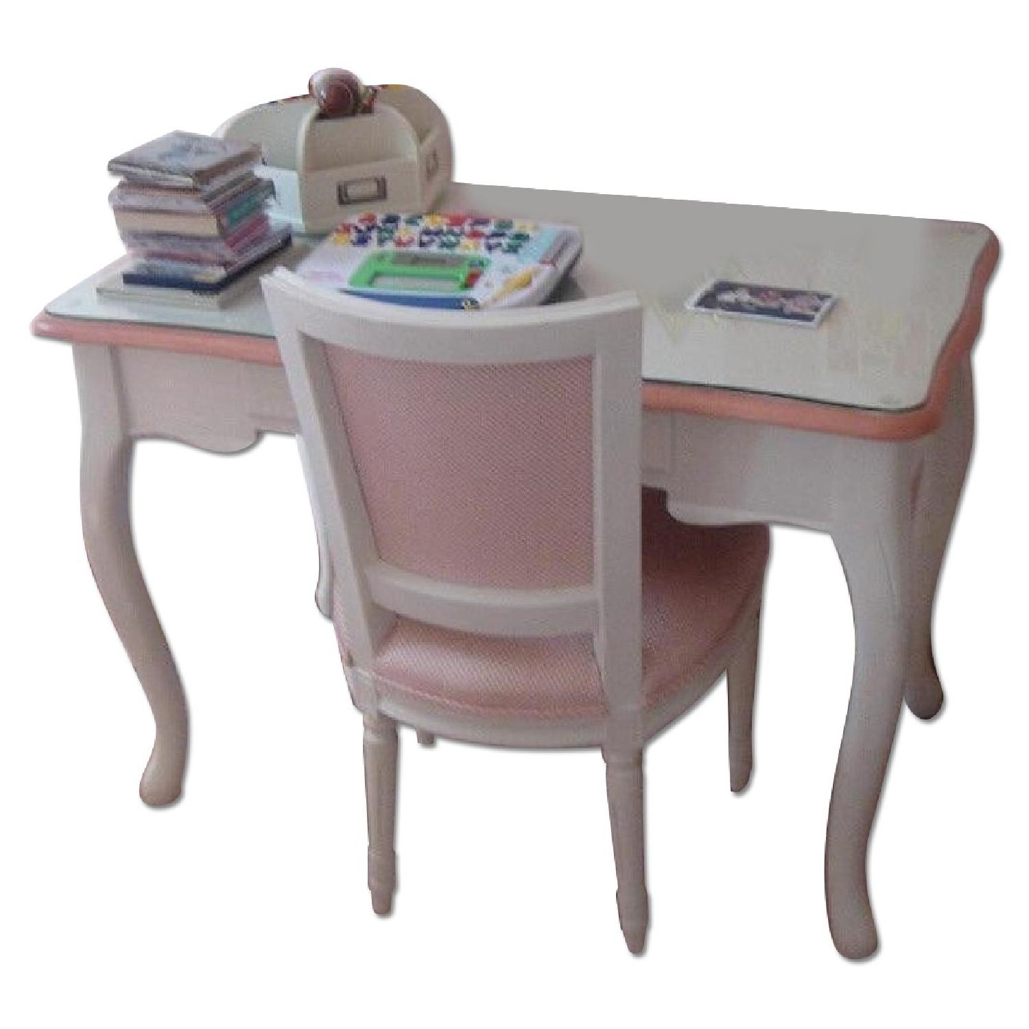 Country Swedish Glass Top Desk w/ Upholstered Desk Chair