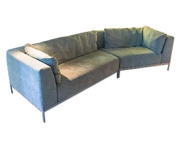 Ligne Roset Traversale Sectional Sofa in Green Ultrasuede