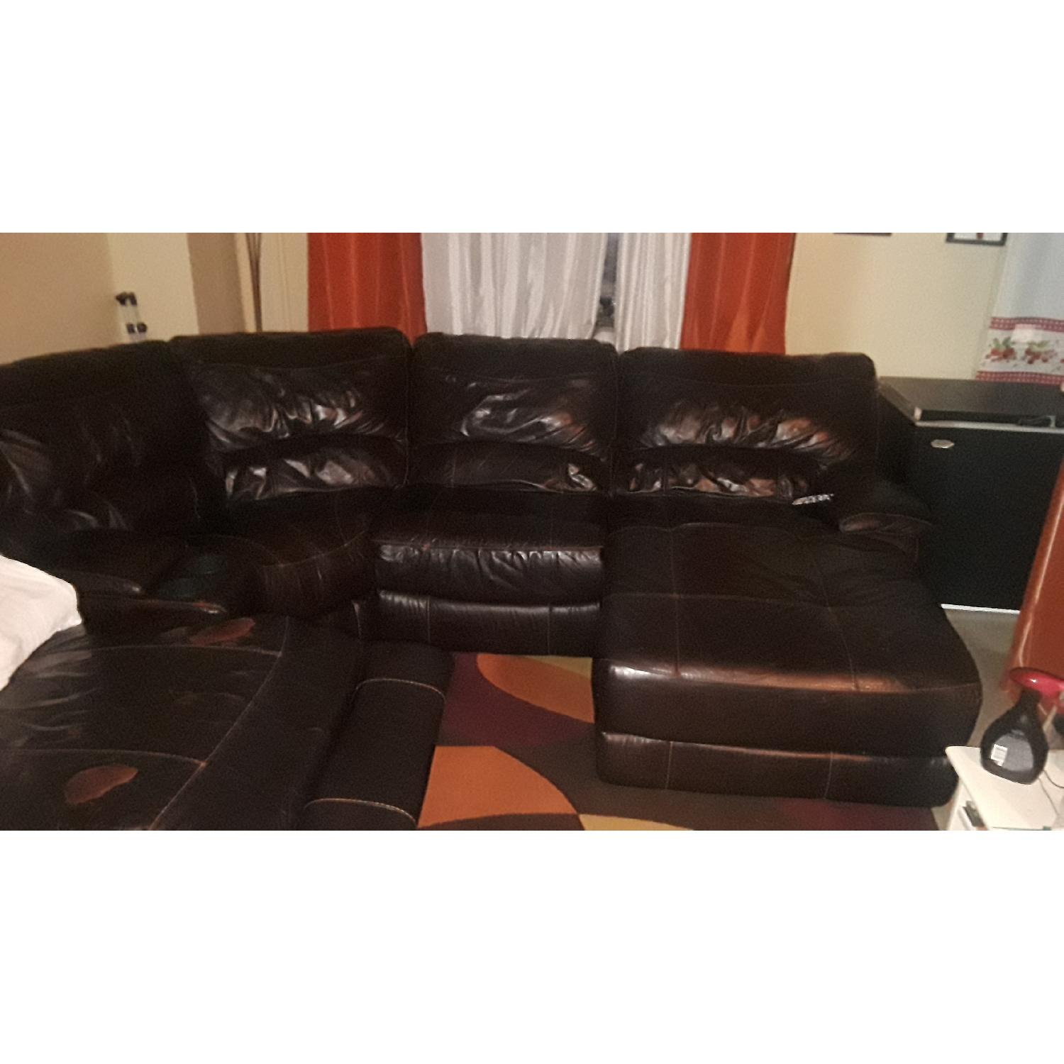 ... Brown Faux Leather Power Reclining 5 Piece Sectional Sofa 1 ...