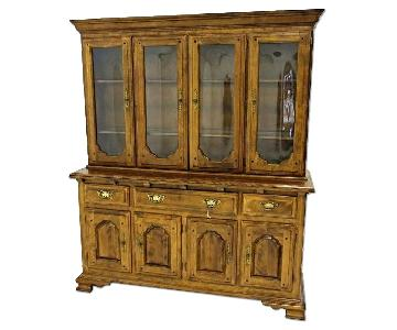 Early American Crown Glass Cherry China Cabinet