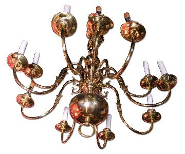Early American Brass 12-Arm Colonial Williamsburg Chandelier