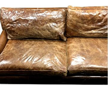 ABC Carpet and Home Distressed Leather Roll Arm Couch