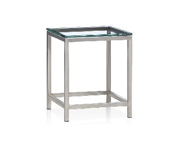 Crate & Barrel Era Glass Side Table
