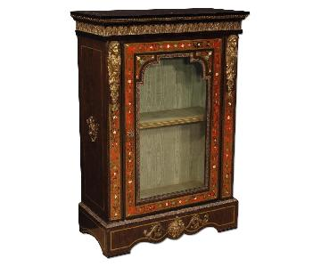 French Display Cabinet In Painted Wood w/ Brass & Bronze
