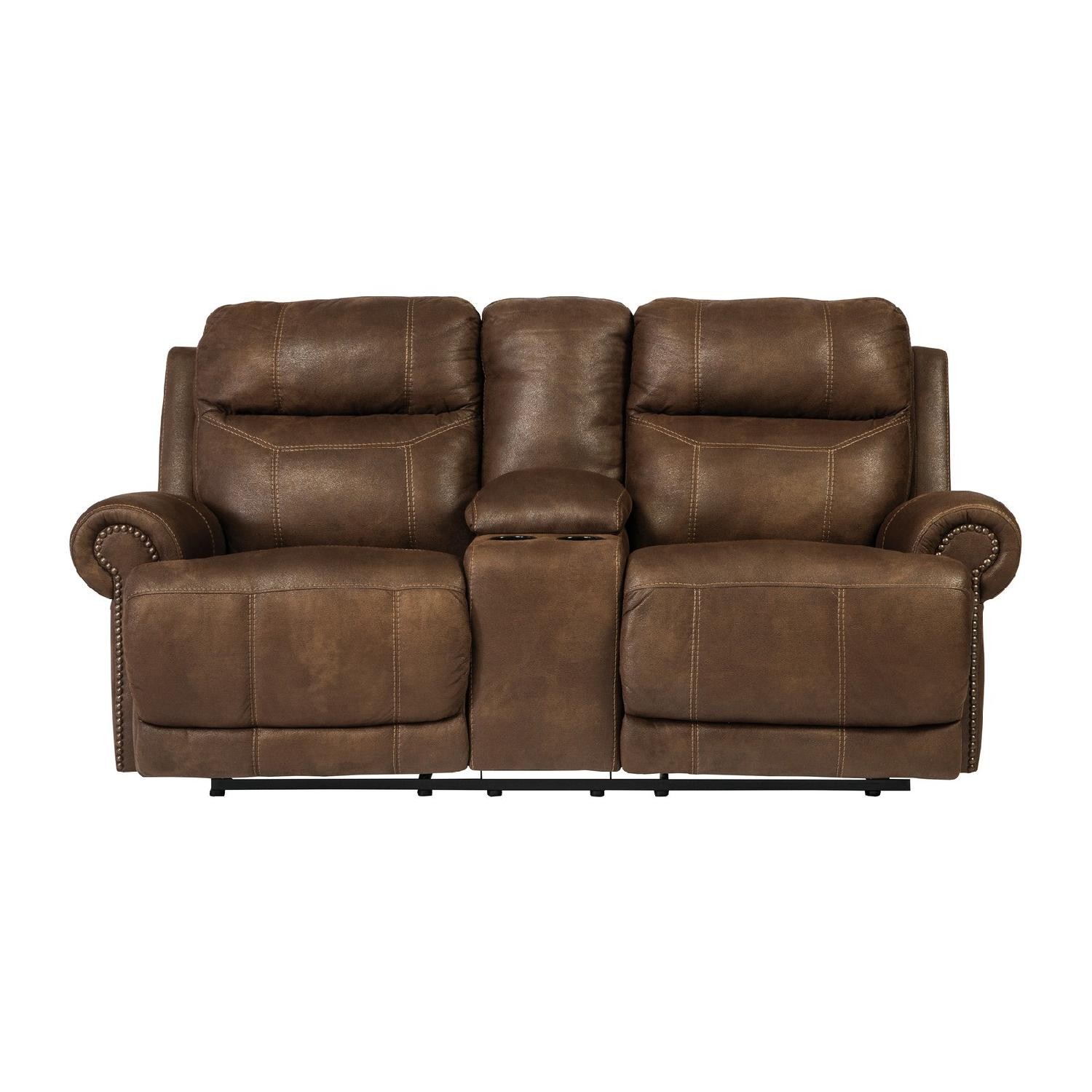 Ashley Austere Double Reclining Sofa W/ Console In Brown ...