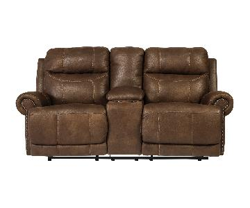 Ashley Austere Double Reclining Sofa w/ Console in Brown