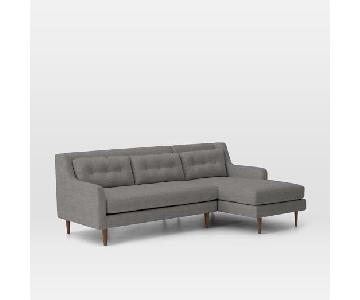 West Elm Crosby Mid-Century Sectional w/ Right Chaise