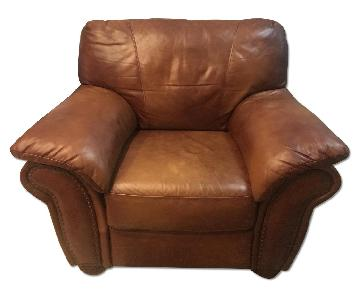 Oversized Arm Chair in Tan Faux Leather