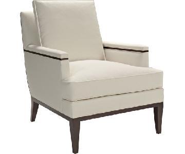 Hickory Modern Cream Leather & Wood Frame Armchair