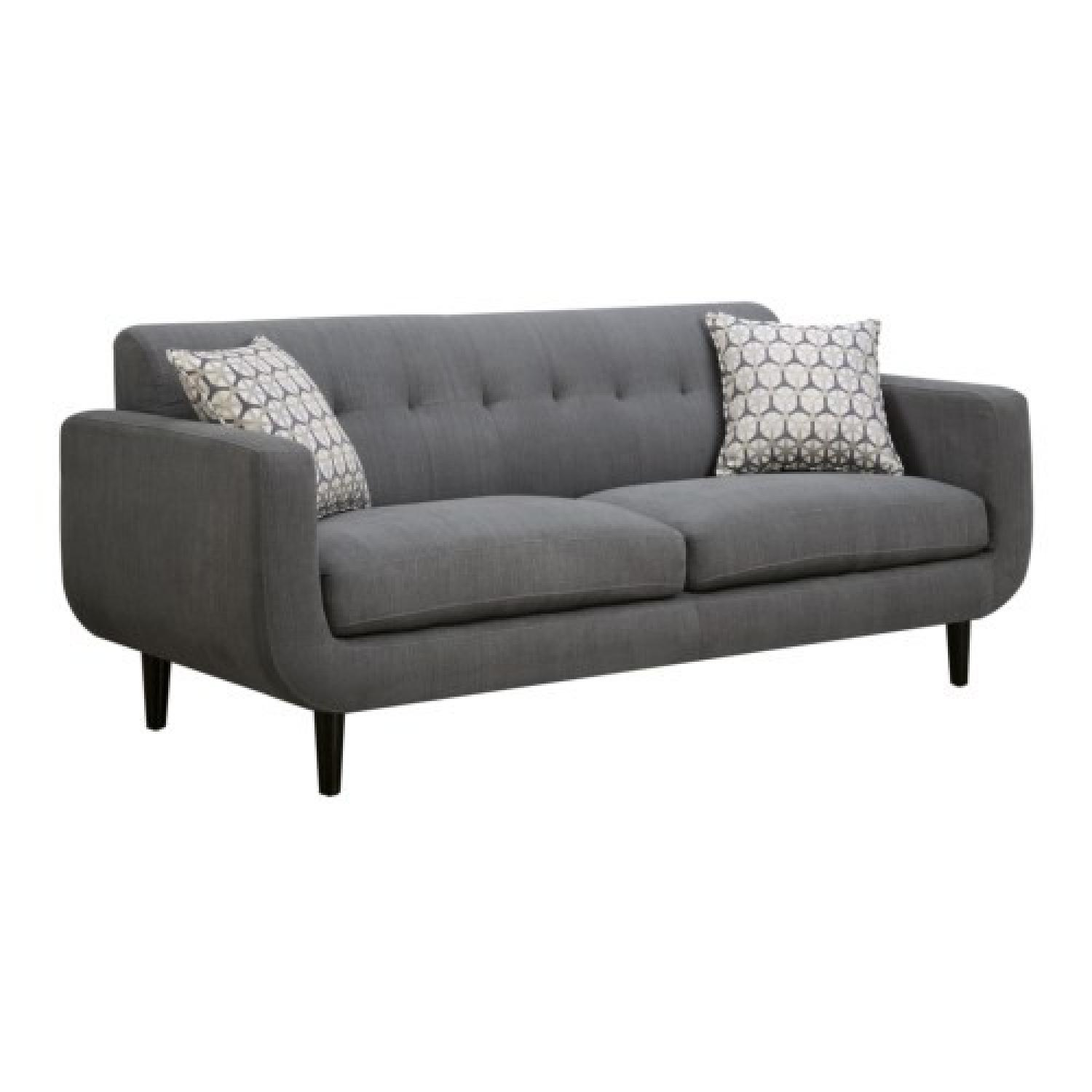 Grey 3 Seater Sofa w/ Cappuccino Leg