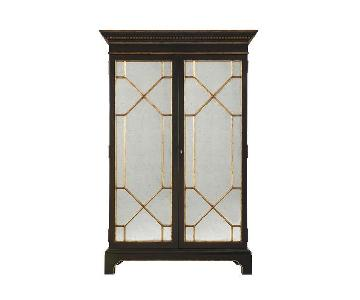 Lillian August Hickory Lanford Bar Cabinet w/ Mirrored Front
