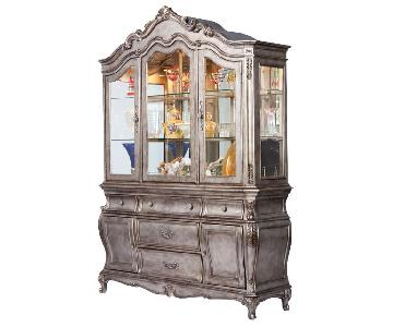 Acme Chantelle Buffet w/ Hutch in Antique Platinum