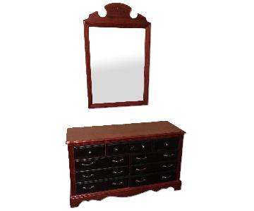 7-Drawer Wood Dresser w/ Black Drawers & Matching Mirror