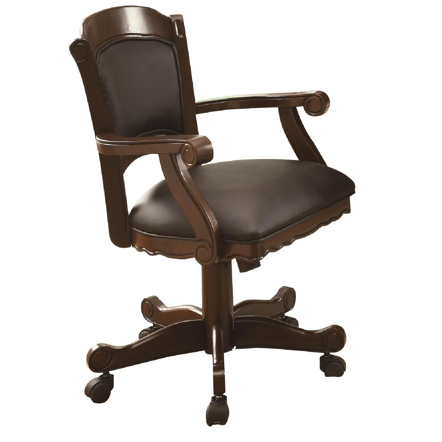 Coaster Turk Arm Game Chair W/ Casters In Brown Cherry ...