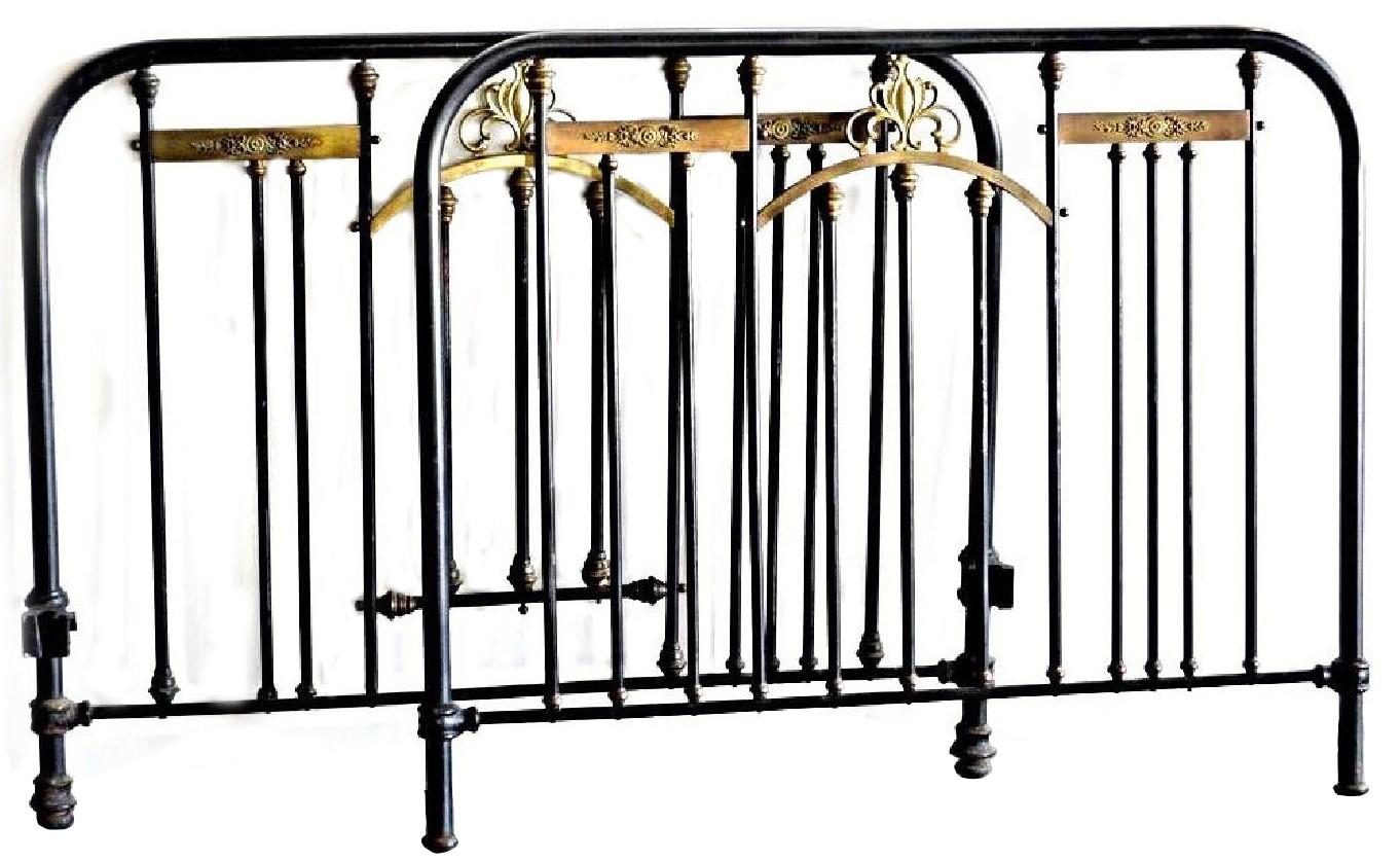 Milo Baughmagn Brass Mounted Iron Twin Bed w/ Headboard