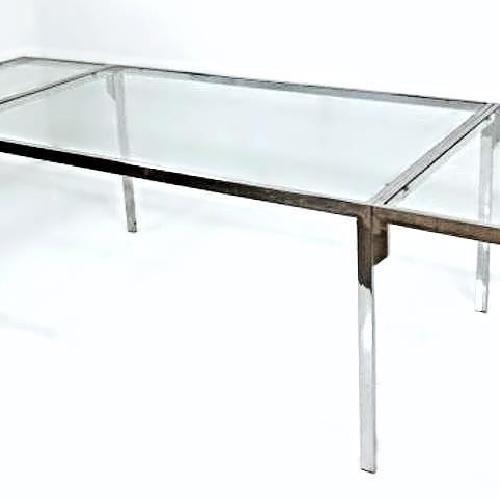 Milo Baughman Chrome Glass Top Extendable Dining Table