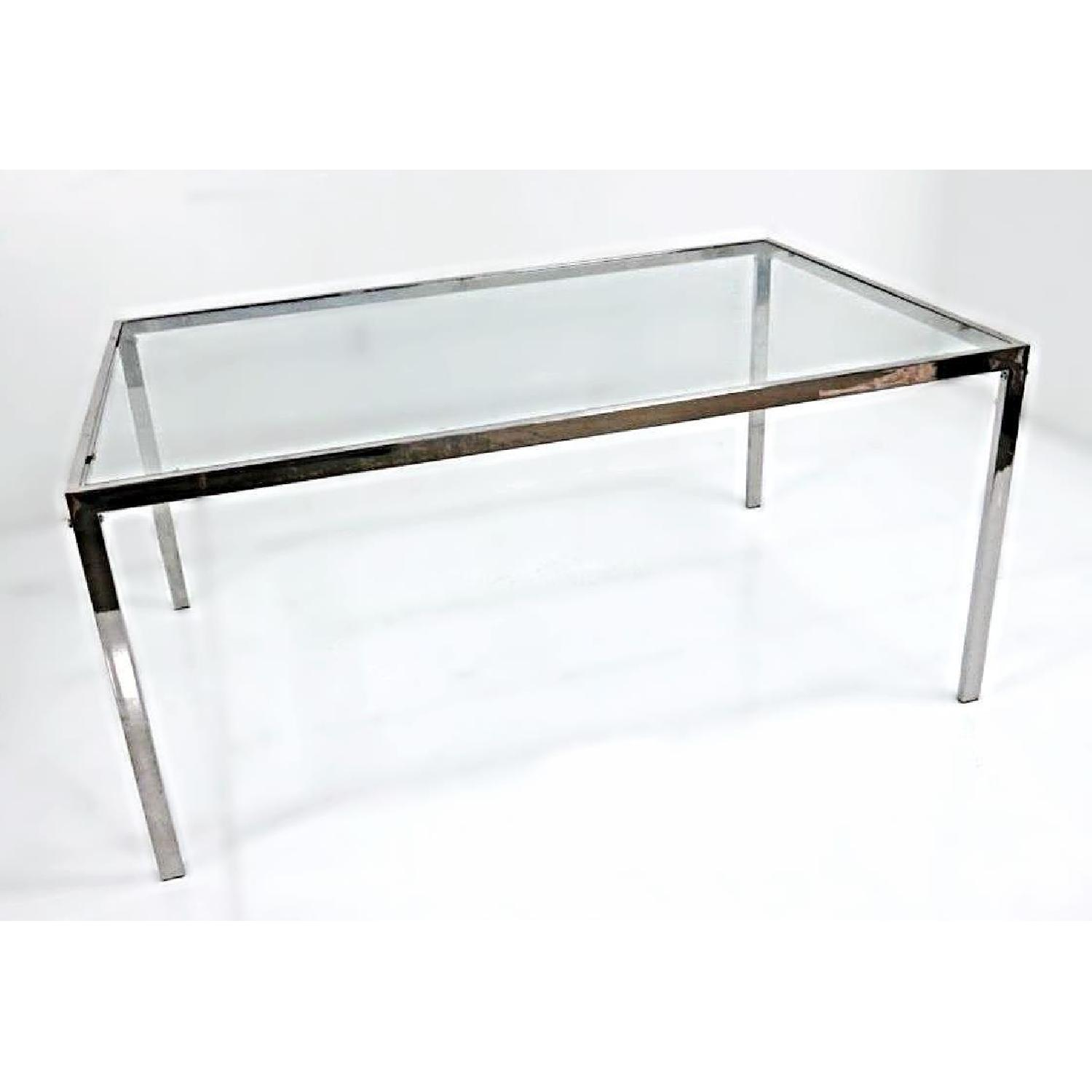 Milo Baughman Chrome Glass Top Extendable Dining Table ...