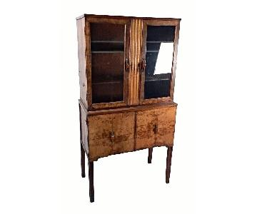 Antique Art Deco China Cabinet w/ Bakelite Pulls
