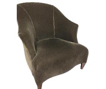Donghia Shell Chair in Charcoal Gray Velvet