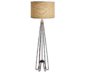 World Market Kent Iron Hairpin Floor Lamp w/ Burlap Shade