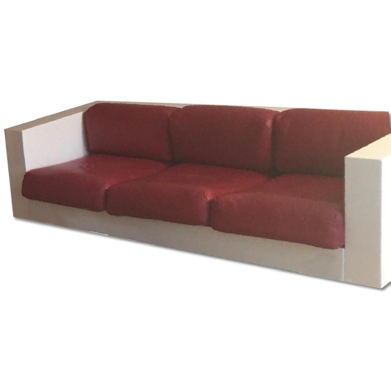 Massim Vignelli Mid Century Modern Sofa In White Frame Aptdeco ~ Leather Mid Century Modern Sofa