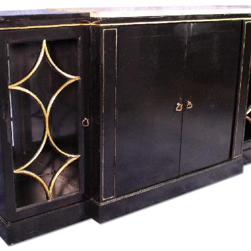Used Maison Jansen Black Lacquer Marble Top Buffet for sale on AptDeco