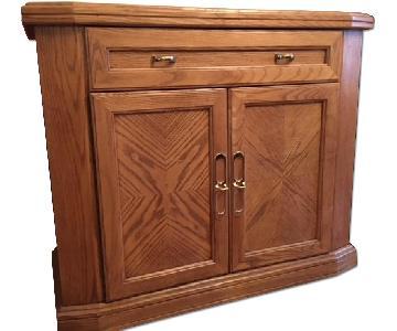 Vintage Solid Oak Wood Dining Server