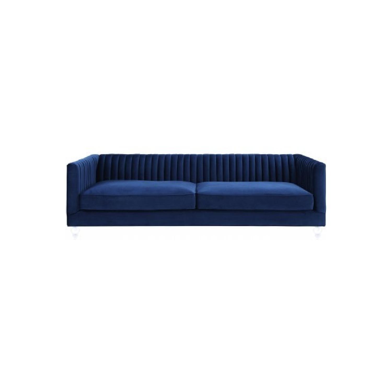 TOV Furniture Aviator Blue Velvet Sofa
