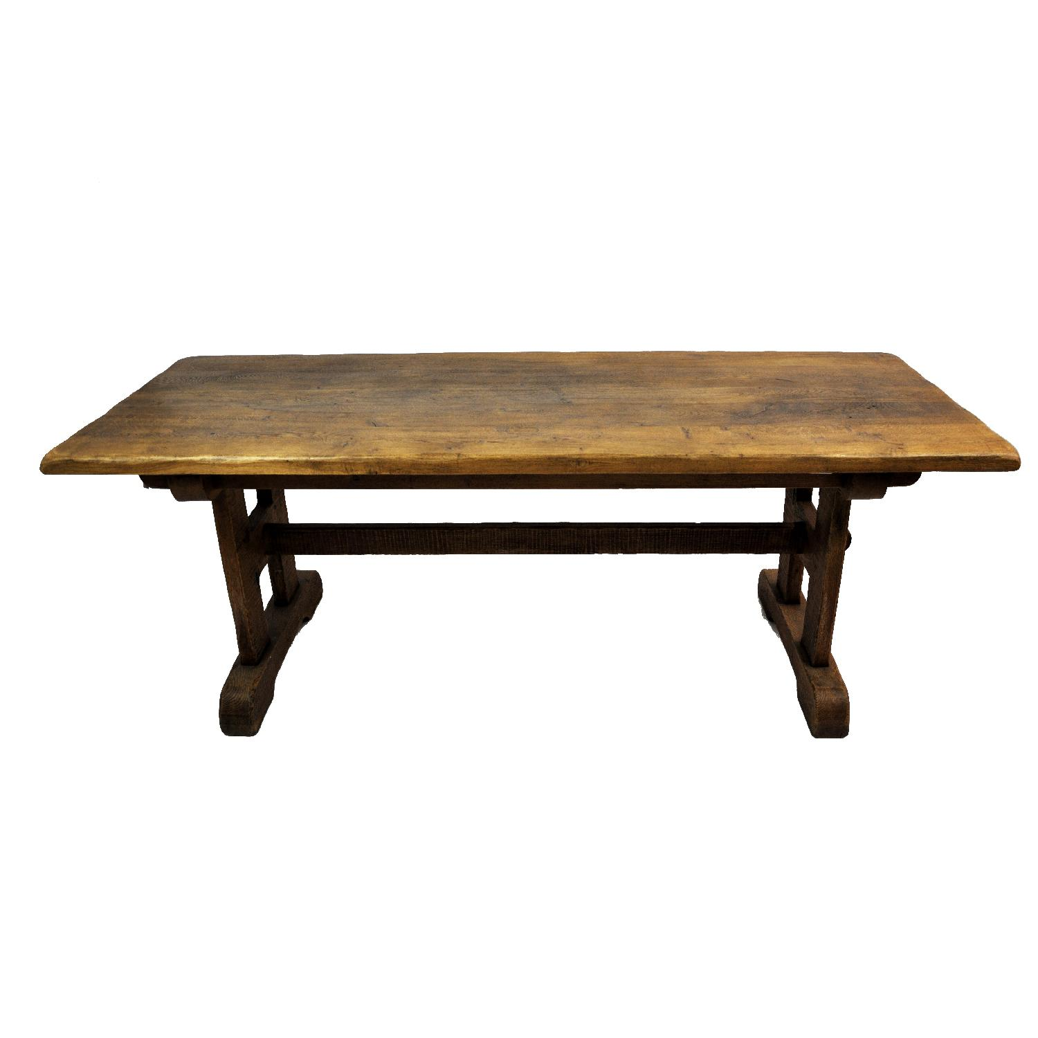 Antique Live Edge French Oak Refectory Style Trestle Table ...