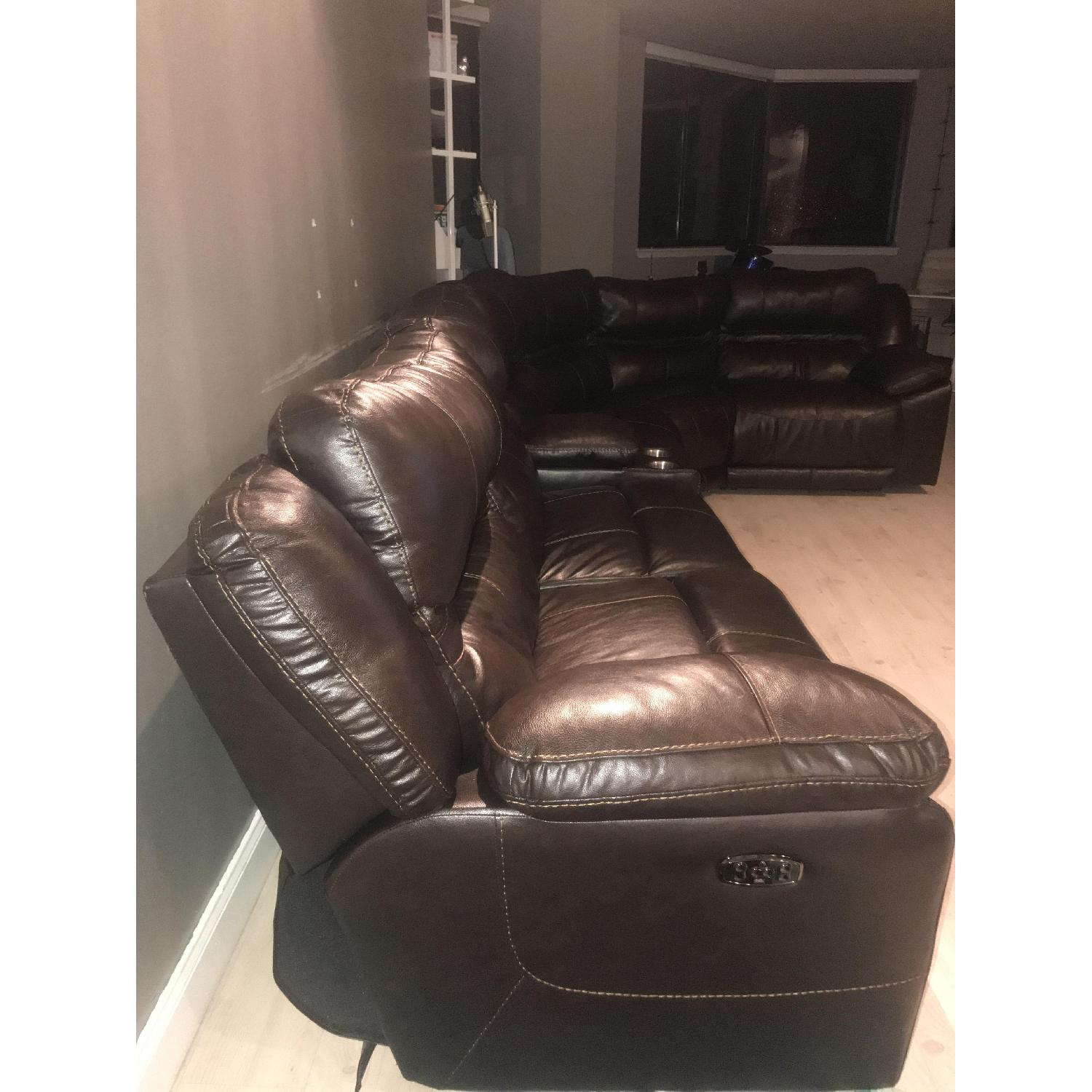 Brown Leather Reclining Sectional Sofa w/ USB Ports