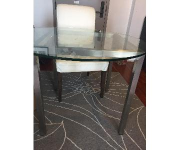Bloomingdale's Round Glass Dining Table w/ 2 Ikea Chairs