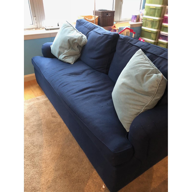 custom blue sleeper sofa aptdeco