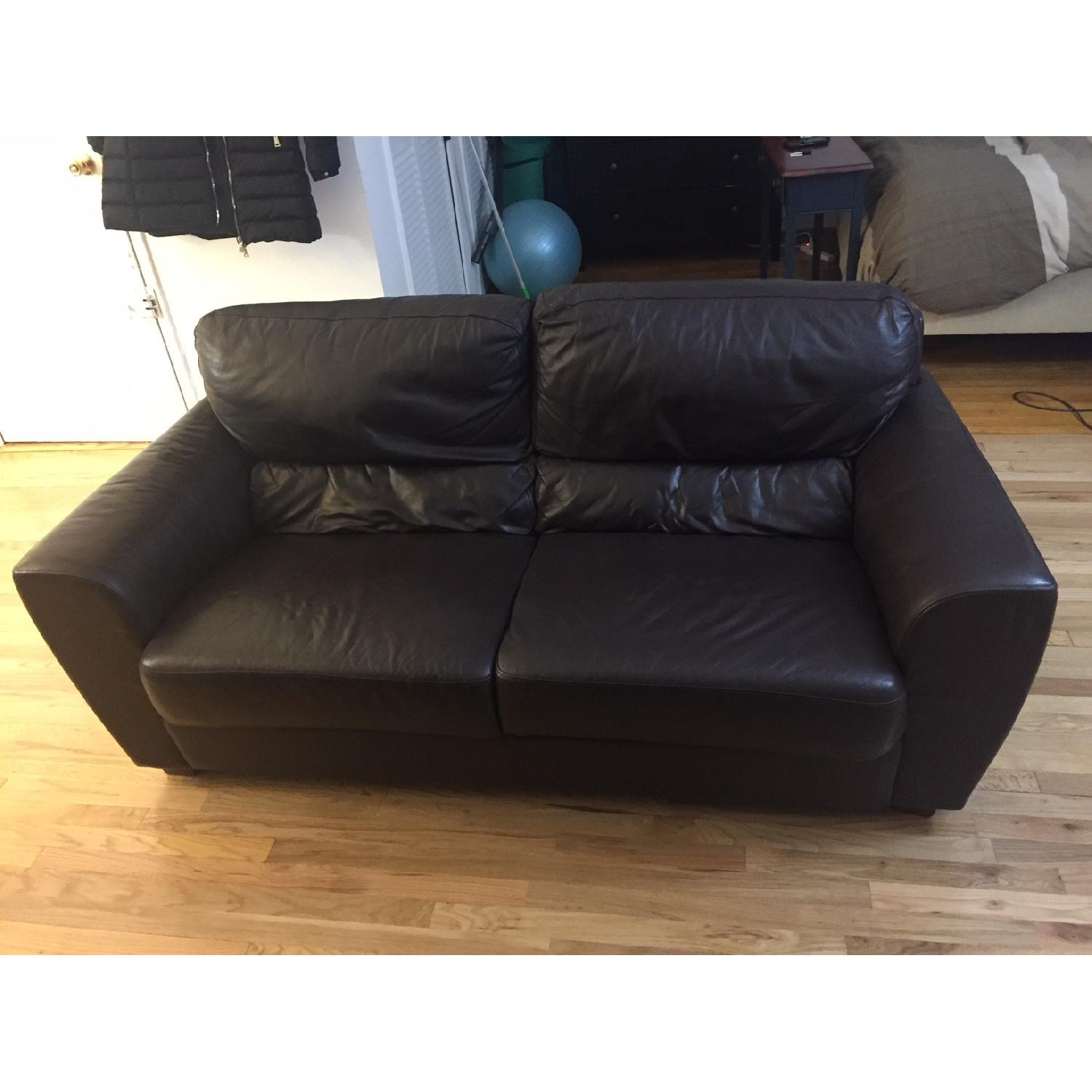 Ikea Brown Leather Sofa ...