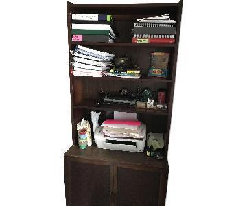 Mid Century Walnut-Veneer Basketweave Bookcase