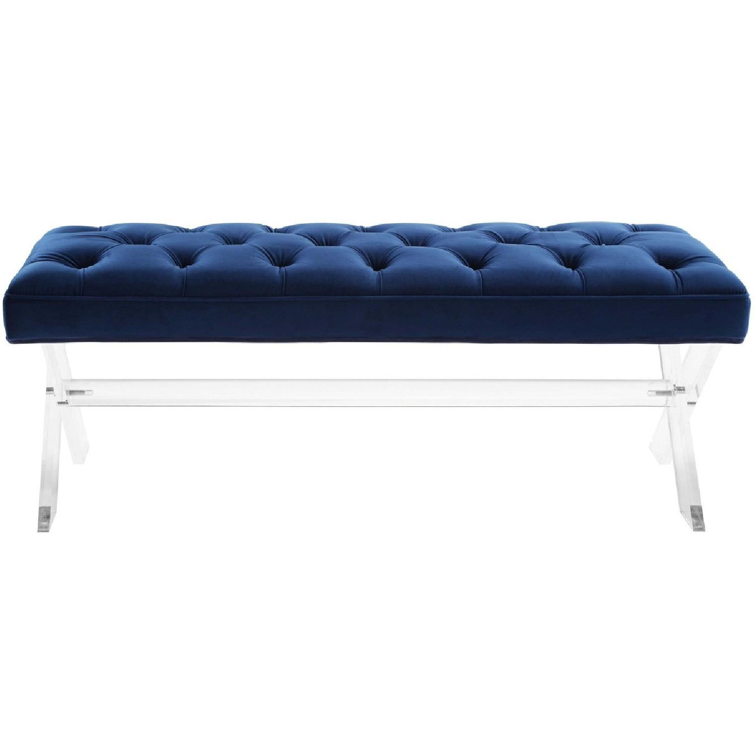 TOV Furniture Claira Navy Lucite Bench