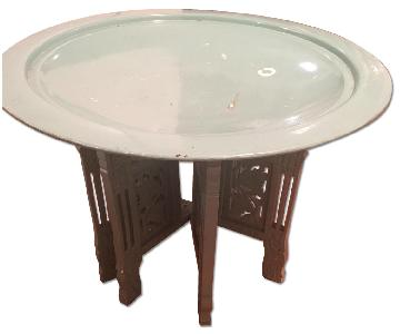Urban Outfitters Moroccan Round Brass Tray Coffee Table