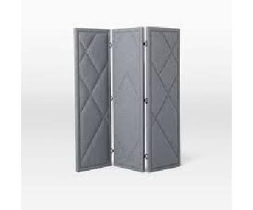 West Elm Grey Patterned Nailhead Upholstered Screen Divider