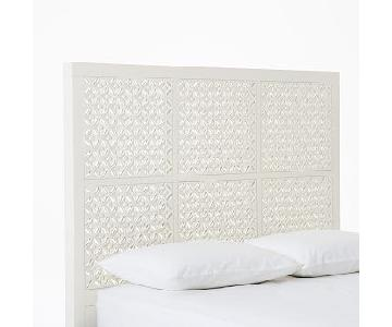 West Elm Queen Size Metal Frame w/ White Carved Headboard