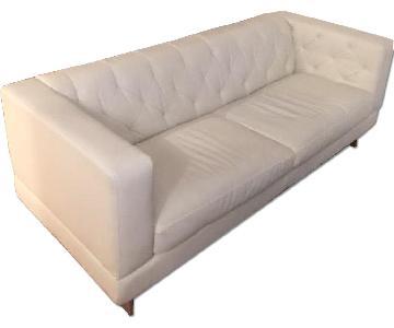 Jennifer Convertibles Faux Leather Contemporary Sofa