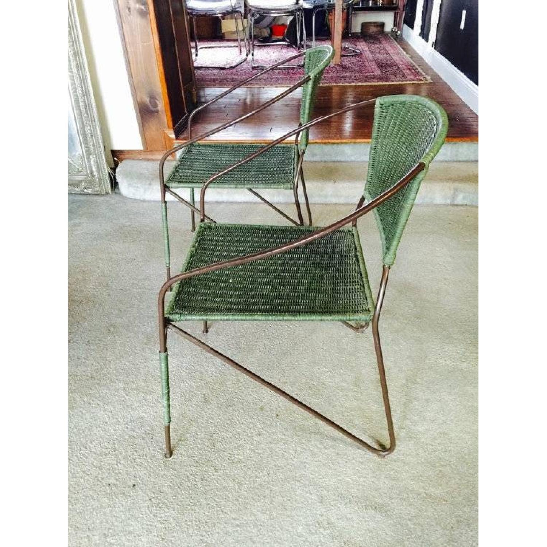 Vintage Green Rattan Mid-Century Modern Chair